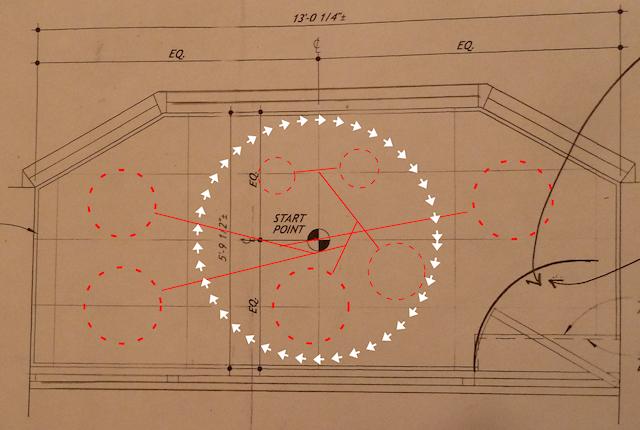 Image of the layout of a large custom hanging mobile