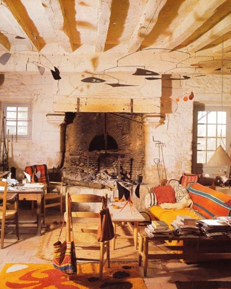 Alexander Calder home with hanging mobiles