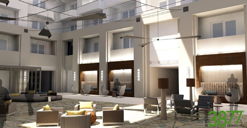 Render of Large Mobiles in Atrium or Lobby