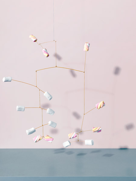 Image of Hanging Mobile made with marshmallows by Carl Kleiner in an homage to Alexander Calder