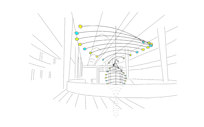Proposal for a large hanging mobile sculpture for a shopping mall atrium