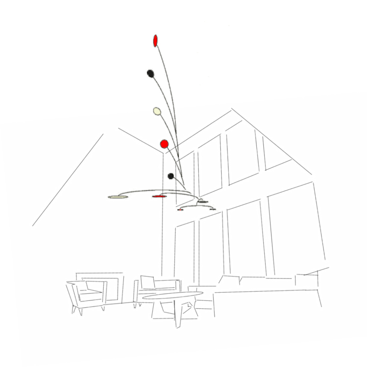 Image of a design for large original calder inspired custom hanging mobiles