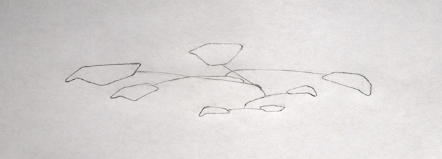 Sketch of an idea for a large hanging mobile - modern kinetic art sculpture