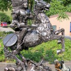 American Indian on Horse - Sculpture made from recycled metal by Tom Samui
