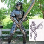 Samurai - Sculpture made from recycled metal by Tom Samui