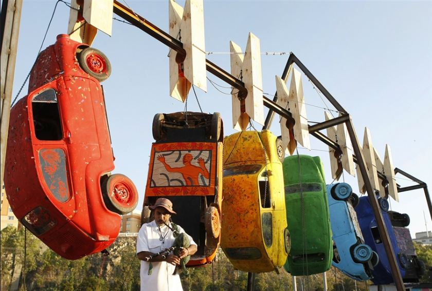 Image of custom made hanging sculpture mobile cars