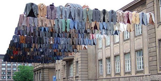 Photo of hanging art installation clothes fabric Kaarina Kaikkonen