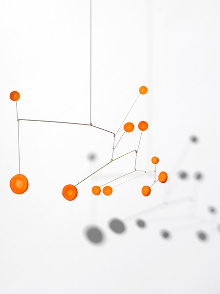 Image of Hanging Mobile made with carrots by Carl Kleiner in an homage to Alexander Calder