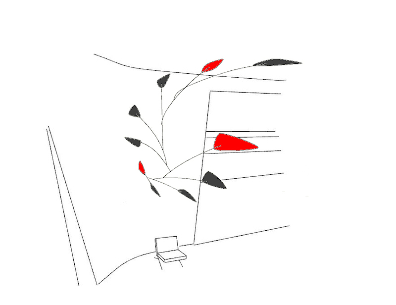 Image of Large Custom Calder Inspired Mobiles - Red and Black