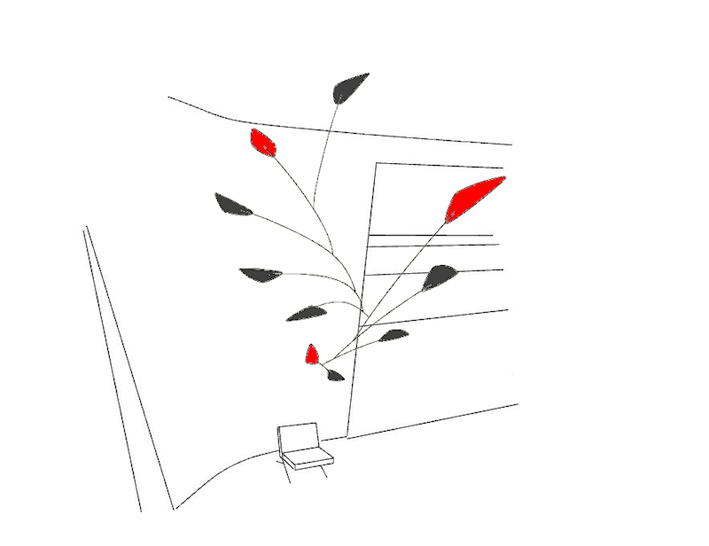 Image of Large Custom Calder Style Mobiles - Red and Black