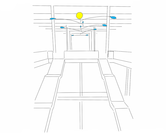 Drawing of a large custom hanging mobile drawing for a shopping mall