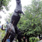 Dinosaur - Sculpture made from recycled metal by Tom Samui