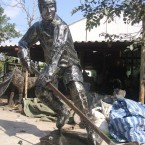 Hockey Player - Sculpture made from recycled metal by Tom Samui