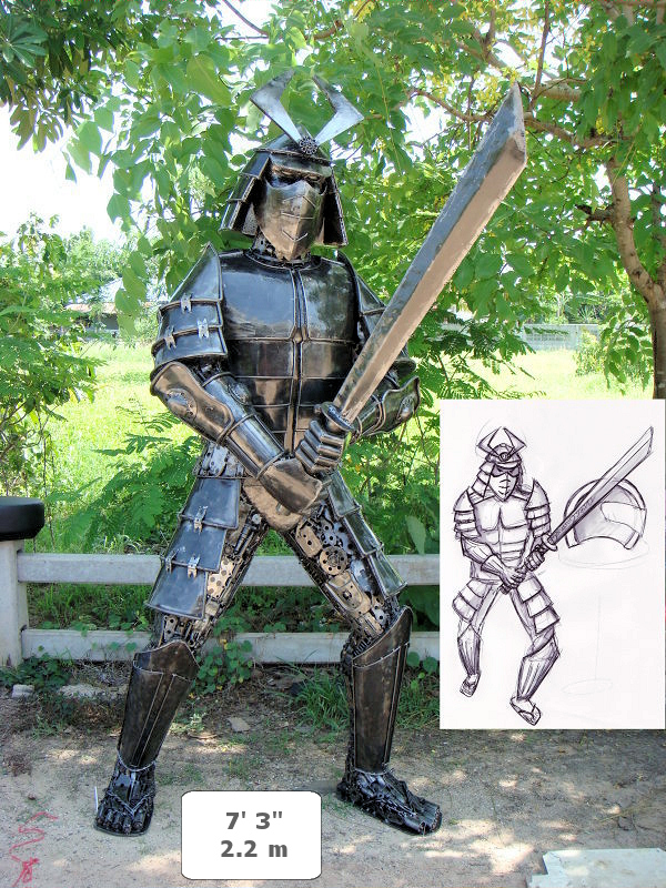 custom sculptures made from recycled metal by tom samui